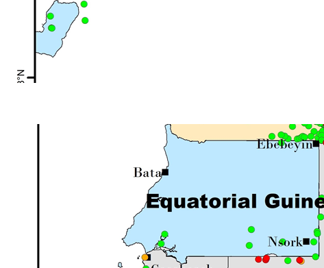 Figure 1.  Map of BBTD Distribution in equatorial Guinea